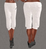 Mesh Cropped Sweat Pants White