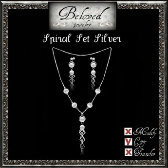 Beloved Jewelry : Spiral Jewelry Set in Silver (2 Piece Jewelry Set-Pendant Necklace and Dangle Earrings)