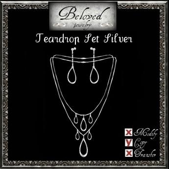 Beloved Jewelry : Teardrop Jewelry Set in Silver (2 Piece Jewelry Set-Double Necklace and Dangle Earrings)