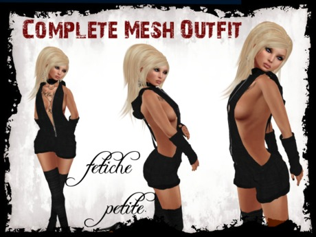 .::f  tiche petite::.Mesh hooded dungarees Outfit