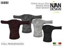 PROMO SUMMER 50% ---NIAN DESIGN Rolled Sleeves Shirt  RIGGED MESH FULL PERM - Grey for male