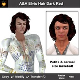 A&A Elvis Hair Dark Red, rocking mens hairstyle (Includes regular and petite size). Marketplace PROMO!