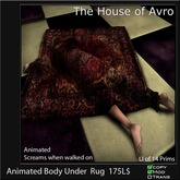 Animated Body Under blood Stained Rug, Gothic furniture