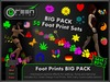 ●GD● Foot Prints BIG PACK [All 52 Sets! Multi Color, Walk/Fly/Dance] Customizable Paw Prints Walking Effect - SAVE 80%