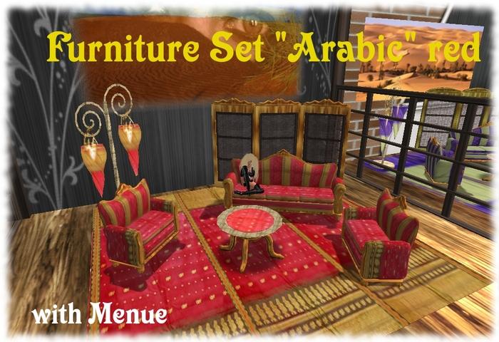 Second Life Marketplace Furniture Set Arabic Livingroom Red