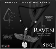 -Pewter Totem Necklace- RAVEN - by Khyle Sion at ~Refined Wild~