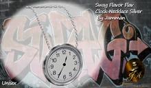Big Clock Silver Swag Necklace