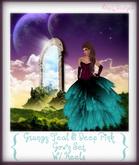 Grungy Teal & Deep Pink Gown Set W/ Heels~NixeL DesignS