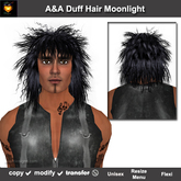 A&A Duff Hair Moonlight.  Shoulder length unisex rocker hairstyle. Marketplace PROMO color!
