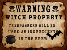 MM   ☠ Bewitched ☠ Warning witch sign  full perm deco(texture HD included)