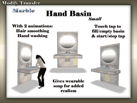 Satiated Desires: Marble Hand Basin (Small). With 2 animations