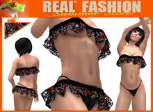 """Ruffle skirt, top and panties set """"Dark rose"""" - Mesh"""