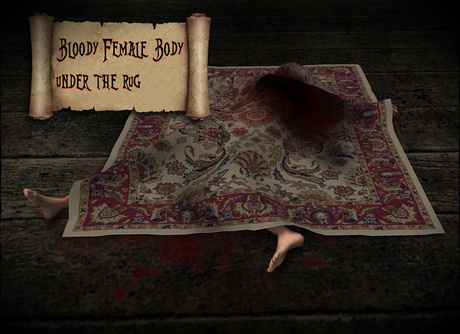 Boudoir Halloween-Bloody Female Body Under the Rug