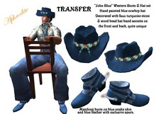 "Western Boots & Hat Set ""Blue John"" (boxed)"