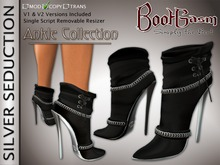 Bootgasm Silver Seduction Ankle Boots Black LIMITED TIME PROMOTIONAL SALE