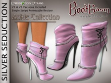 Bootgasm Silver Seduction Ankle Boots Pink LIMITED EDITION (Breast Cancer Awareness)