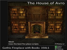Gothic Fireplace with Books - Mesh, Gothic Furniture
