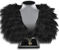 ((Crystal Line))Fur Stole-Black