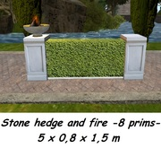 Stone hedge fence with fire