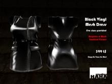 !Black Mesh Vinyl PVC Dress