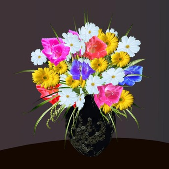 Bouquet 5 with Vase in 80 Textures!