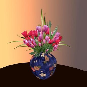 Blumen 1 mit Vase in 80 Texturen