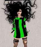 Mesh Halloween Green/Black Striped Dress