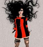 Mesh Halloween Orange/Black Striped Dress