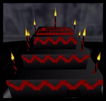 Swell Second Life Marketplace Happy Birthday Triple Laye Goth Cake Funny Birthday Cards Online Inifofree Goldxyz