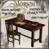 MEDIEVAL CHAIR AND DESK (ONLY 5 PRIMS)
