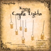 [DDD] Hanging Candles - Pumpkin Orange  - 100% Mesh, Unscripted, 1 prim, Subtle Light Effects - Up to 3 in 1 prim!!
