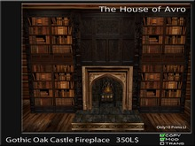 Gothic Oak Castle Fireplace with book cases Gothic Furniture