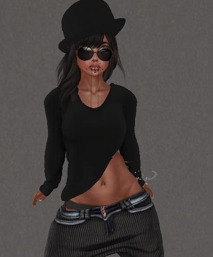 Mesh Sloped Front Sweater black