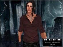 :: PROMO :: MESH Rolled Sleeves Shirt Dark Red