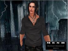 :: PROMO :: MESH Rolled Sleeves Shirt Black
