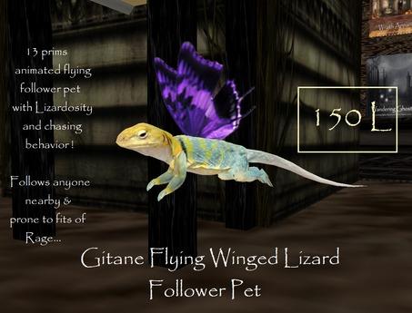 Gitane Winged Flying Lizard + Sounds FOLLOWER PET !