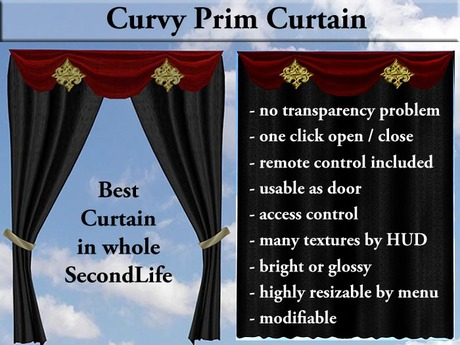 Prim Curtains Curvy - no transparency bug! (TRANSFER)