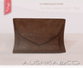 Aushka co my little leather clutch brown