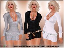 *Aggressione* -Mara- Knit Mini Dress Classic: Black, White,Silver Belt Appliers Omega,Slink,Maitreya,Belleza,TMP
