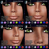 *P* Gem Face Piercings ~Colors & Bling~ Silver & Black (U)