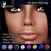 *P* Lip Gem Piercing ~Colors & Bling~ Silver & Black (U)