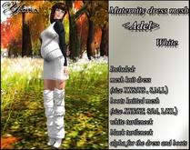 Maternity dress mesh <Adel> White