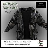 ROUGH GREY Camo Jacket w/ Black Tshirt (MESH )