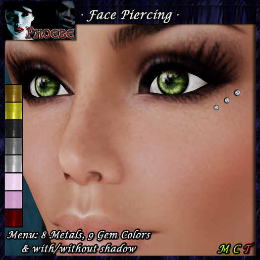 [$1L PROMO] ~ *P* Face Piercing ~ Eye Diamonds ~9 Metals/8 Gem Colors~