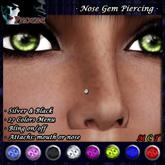 *P* Nose Gem Piercing ~Colors & Bling~ Silver & Black (U)