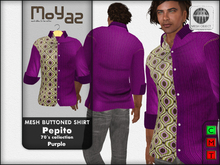 Pepito Mesh Buttoned Shirt - 70`s Collection - Purple