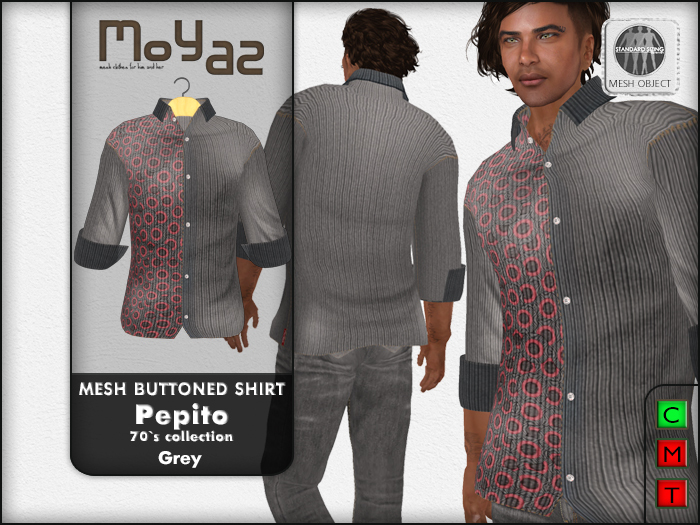 Pepito Mesh Buttoned Shirt - 70`s Collection - Grey
