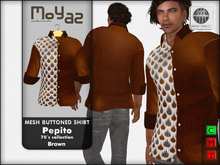 Pepito Mesh Buttoned Shirt - 70`s Collection - Brown
