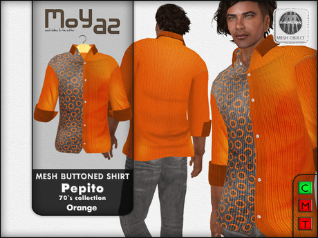 Pepito Mesh Buttoned Shirt - 70`s Collection - Orange