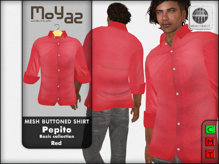 Pepito Mesh Buttoned Shirt - Basic Collection - Red